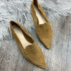 ZARA Pointed Toe Suede Penny Loafer Flats